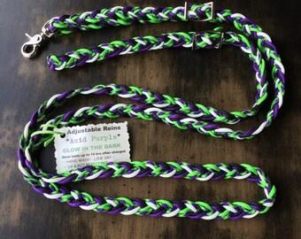 "Adjustable Paracord Reins / Dog Leash - ""Acid Purple"" - Lime Green/Purple/Glow/Black - 8.5feet long"