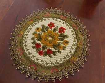 Vintage Doily Needlepoint Tapestry Made In Belgium Group Muylle