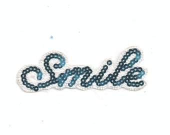 Smile Blue Sequin White Words Iron On Patch Applique 6257