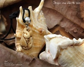 Pendant Dragon sleep under the moon. bone jewelry carving