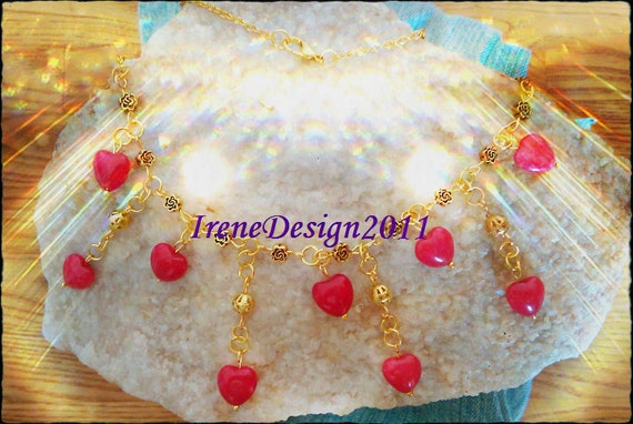 Handmade Gold Necklace with Red Jade Hearts by IreneDesign2011