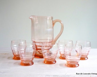 Pink Art Deco glass carafe and six glasses, vintage drinks  set, pink glass pitcher and glasses