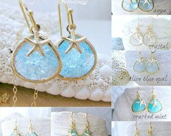 Aquamarine Starfish Earrings 14k Gold Filled Starfish Earrings Aquamarine jewerly march birthstone earrings Beach Wedding Bridesmaid Gifts
