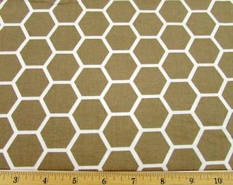 Hexagon  Khaki Fabric