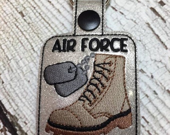 Air Force Wife - Military - Combat Boots, Dog Tags - Key Fob Design - DIGITAL Embroidery DESIGN