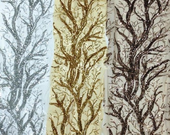 1 Yard Sequin Fabric,Embroidery Tree Tulle Lace Fabric,Wedding Bridal Dress Fabric,7 Colors For Choose