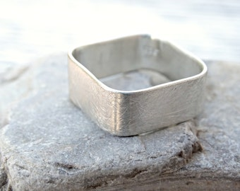 square silver ring, silver engagement ring, square ring silver, square wedding ring, square mens ring silver, geometric jewelry modern