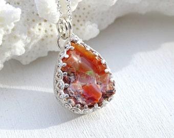 red fire opal necklace silver, rough opal pendant, raw fire opal pendant, unique crystal necklace, mexican fire opal jewelry raw gemstone