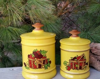 Kromex Canisters Yellow with Strawberry Baskets Retro Kitchen