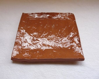 Brown Tray with Leaf Print