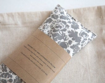 flax eye pillow gray floral eyepillow eye pillow spa favor sleep aid