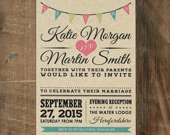 Vintage Bunting Wedding Invitation Set on Kraft Card - Rustic wedding invites, Rustic Wedding invitations UK, Wedding invitations Rustic