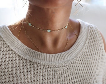 White Fire Opal Choker | Gold