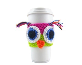 DIY, Crochet PATTERN, Owl travel mug sleeve / FREE printable template / travel cup sleeve / cup cozy / travel mug cozy / coffee cup sleeve