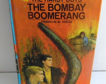 1975 hard back book for boys.  The Hardy Boys and The Bombay Boomerang
