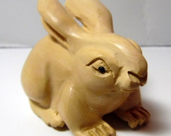 "Vintage, hand carved, boxwood miniature Netsuke Rabbit/ Bunny. 2"" long, 1 1/2"" tall and very detailed"