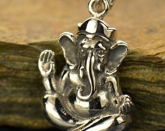 Ganesh, Sterling Silver Ganesh Charm, Ganesha Charm, Hindu Jewelry, Spiritual Charm, Elephant Headed God, Hindu Necklace, Charms of India