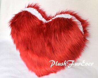 """One Pair Valentine Pillows Red White Faux Fur Love Pillows 18"""" x 18"""" Shaggy Cute Plush Couple Cushions Sheepskin Decor"""