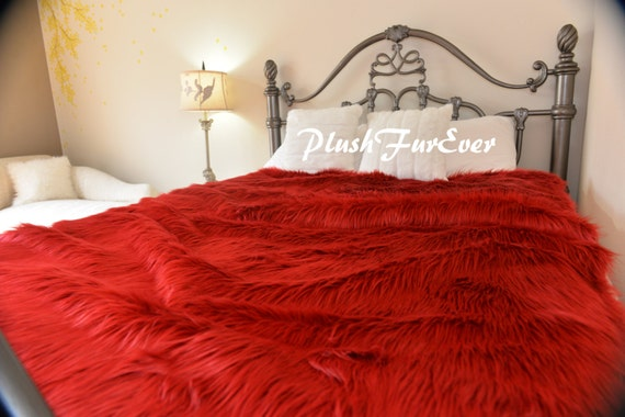 Luxurious Soft Red Shaggy Fur Comforters Sheepskin Bedspread