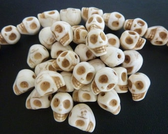 40 pce Halloween Howlite Skull Spacer Beads 9mm x 7mm
