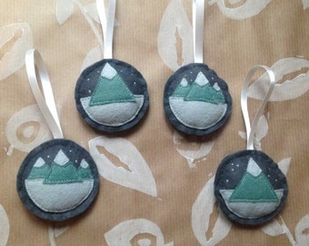 Handmade Christmas Baubles ~ Green Mountains ~ Set of 4