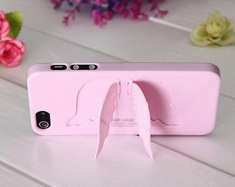 3D Angel Wings Hard Back Case Skin Cover with Stand For Apple iPhone 5 5s