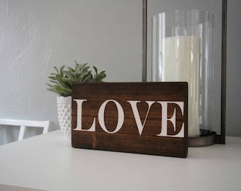 Love Sign Wood, Wooden Love Sign, Wood Love Sign, Valentines Day Decor, Valentines Day Gift, Rustic Wedding Gift, Love Decor, Freestanding