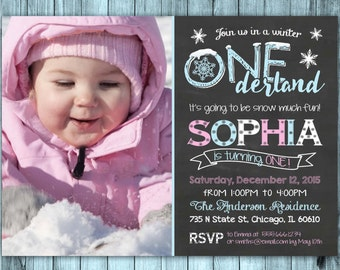 WINTER ONEderland Invitation, Winter Onederland Birthday Invitations, Winter Onederland Girl, Wonderland Party Chalkboard, Printable Invite
