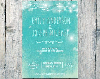 Printed Card - 40-75 Sets - The Lights is Shining Wedding Invitation and Reply Card Set - Wedding Stationery - ID545