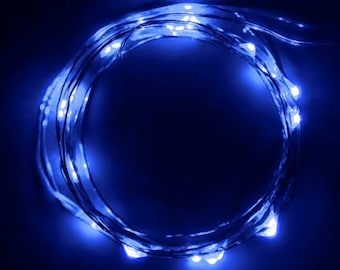 Super Lightweight 20 LED fairy light string w/ very SMALL controller - 7 ft long!  8 Great Colors incl Purple or Amber! Perfect in costumes!