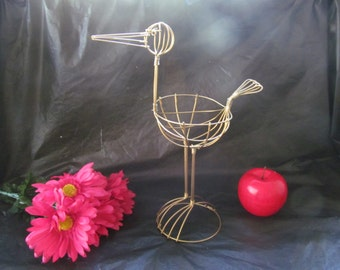 """Vintage Gold Wire Stork - 11"""" Tall - Great for Baby Shower Decorations"""