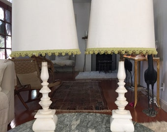 Pair Large Marble Lamp with 2 sets of lights-top and bottom