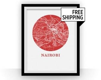 Nairobi Map Print - City Map Poster