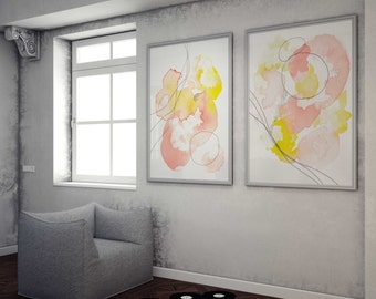 Pink Abstract Home Art. Abstract Art Pair. Pink and Yellow Home Art. Home Art Print Pair in Pink.