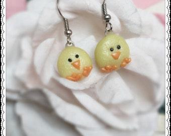 Cute little chick Earrings, kawaii earrings