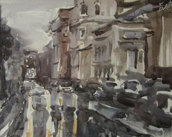 Winter rain - original watercolor
