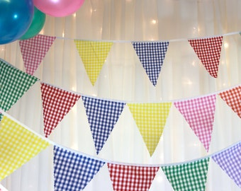 Gingham bunting red yellow green purple orange pink blue flags  perfect decoration for baby showers, weddings, parties, BBQs, fetes, fairs