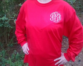 Monogrammed Long Sleeve T-Shirt/Personalized Shirt/Comfort Colors T-Shirt/Preppy
