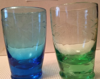 2pc NAPCO Replica Etched Bright Blue Green Whiskey Shot Glass 2.5 inch *VINTAGE*