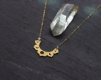 Lotus Moon Phase Necklace / raw crystal brass pendant / Handmade