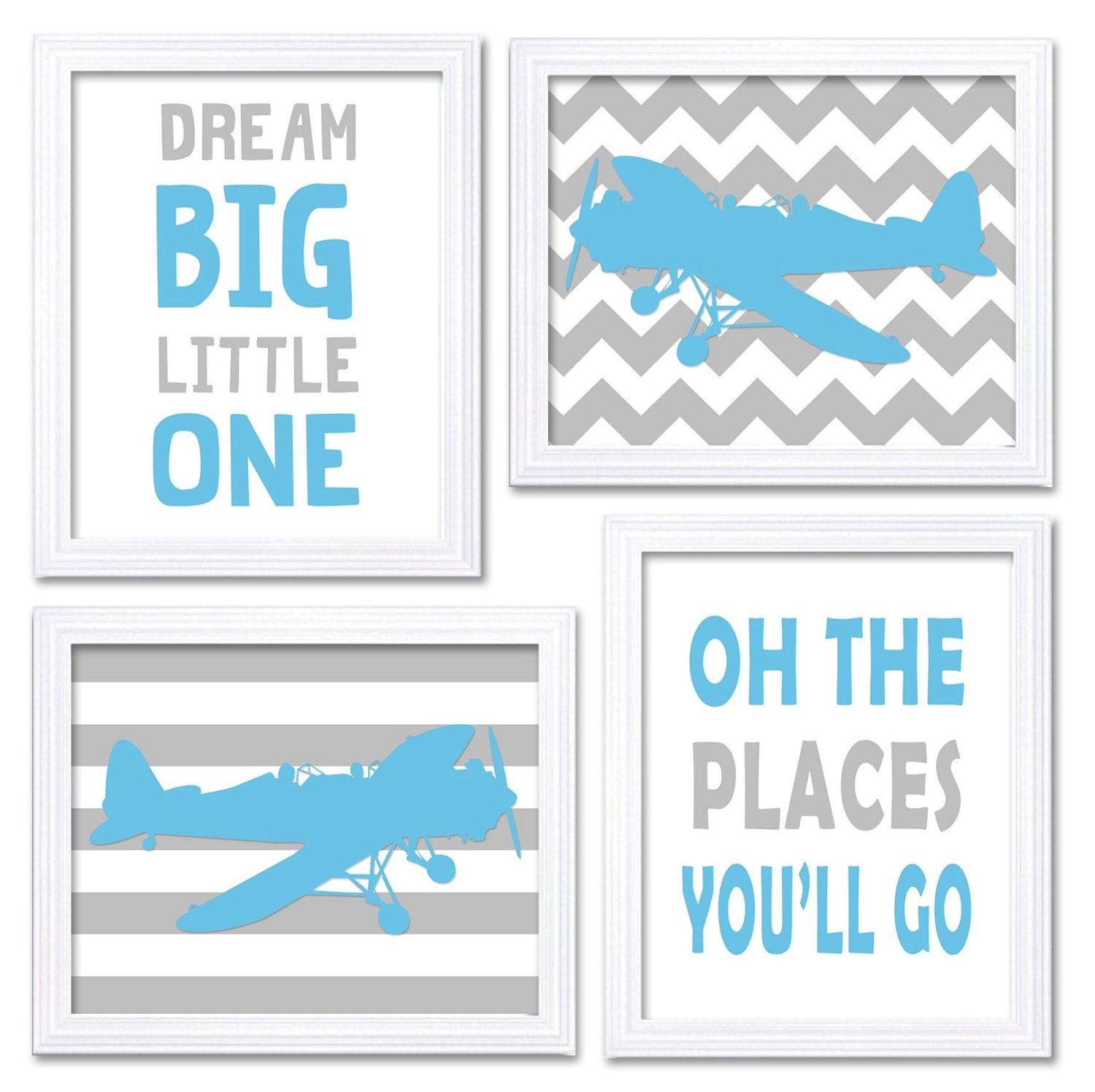 Airplane Nursery Art Baby Blue Grey Nursery Print Set of 4 Transportation Dream Big Little One Oh Th