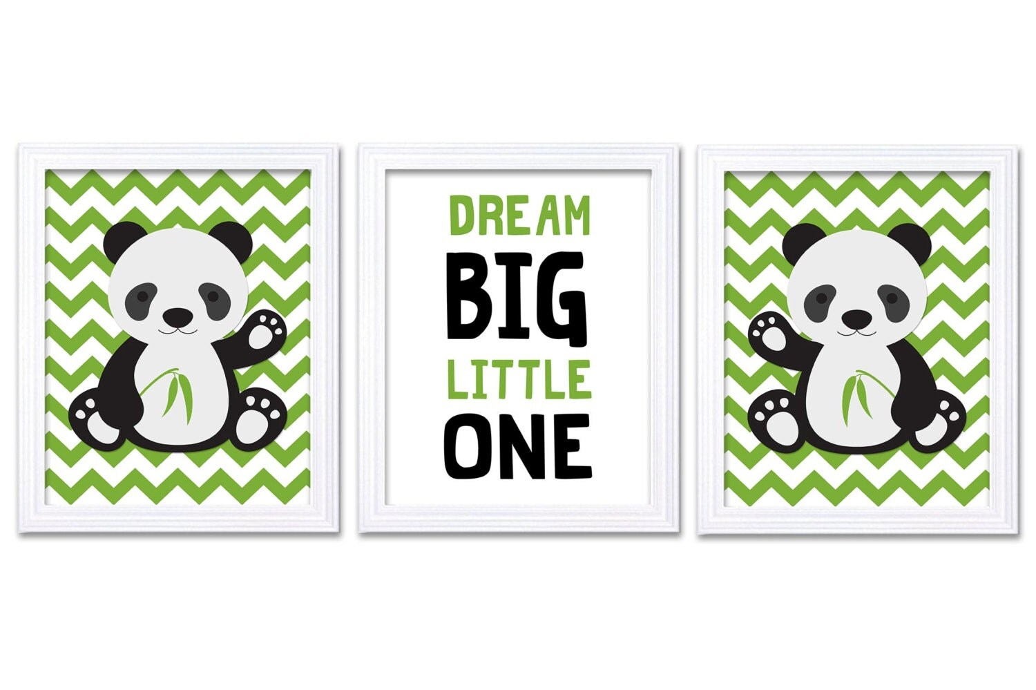 Panda Nursery Art Set of 3 Print Green Black Grey Gray Dream Big Little One Child Kid Room Nursery W