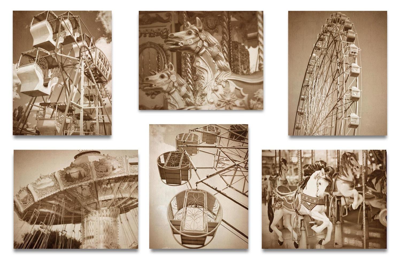 Old Carnival Nursery Print Child Brown Beige Baby Art Prints Set of 6 Vintage Fair Circus Ferris Whe