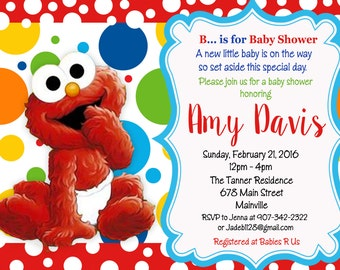 Elmo Sesame Street Baby Shower Invitation   Digital Or Printed