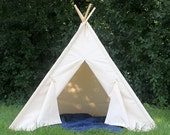 Canvas Teepee, Play Teepee, Ready to Ship, Play Tent, Kids Tent, Playhouse, Kids Teepee Tent, Teepee,  Tie Open, Tie Closed, Poles Included