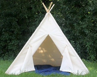 Canvas Teepee, Can Include Window, Ready to Ship, Play Tent, Kids Playhouse, Kids Teepee Tent, Teepee,  Tie Open, Tie Closed, Poles Included