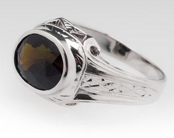 Vintage Mens Ring - Retro 2.9 Carat Dark Greenish Brown Tourmaline - 20K White Gold Ring - WM11281