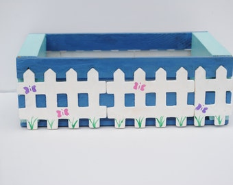 Hand Painted White Picket Fence Box