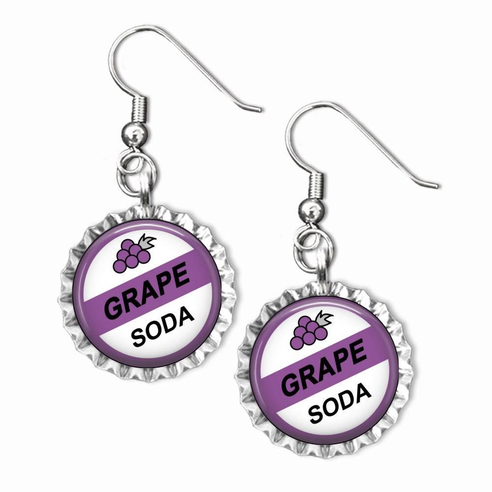 Disney UP GRAPE SODA Inspired Flat Bottle Cap Earrings