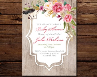 Flowers and feathers - Baby Shower Invitation - Watercolour Invitation - Personalised Invitation - Printable Invitation - Digital Invite
